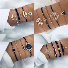 New Bohemian Black Rope Chain Bracelet Set For Women aircraft Shell Moon Heart crystal Charm Bangle Boho Jewelry