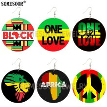 SOMESOOR Jewelry African Map Rasta Peace Background Lion logo Design Both Sides Printing Wooden Drop Earrings For Women Gifts
