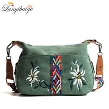 High Quality Abrasive Fabric Women Bag Fashion Embroidery Handbag Female Crossbody Bags Designer Multifunction Shoulder Bag Tote
