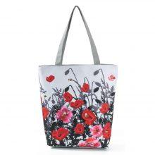 Miyahouse Floral Printed Handbag Women Shoulder Bag Canvas Summer Beach Bag Daily Use Female Shopping Bag Lady