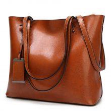 Waxing Leather bucket bag Simple Double strap handbag shoulder bags For Women 2020 All-Purpose Shopping tote sac bolsa feminina