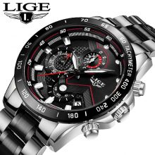 LIGE New Men Watch Business Waterproof Date Watches Fashion Multifunction Stainless Steel Black Quartz Watch relojes para hombre