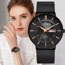 Women Watches LIGE Top Brand Luxury Waterproof Ultra Thin Date Clock Steel Strap Casual Quartz Watch Women Sport Wrist Watch+Box